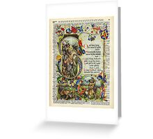 Dictionary Art - King Artur Story book,Decorative Manuscript Greeting Card