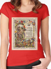 Dictionary Art - King Artur Story book,Decorative Manuscript Women's Fitted Scoop T-Shirt