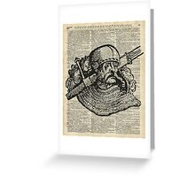Medieval Knight illustration Over Old Encyclopedia Page Greeting Card
