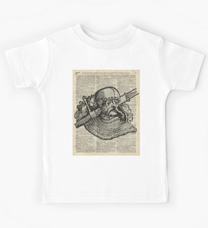 Medieval Knight illustration Over Old Encyclopedia Page Kids Tee