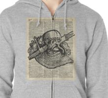 Medieval Knight illustration Over Old Encyclopedia Page Zipped Hoodie