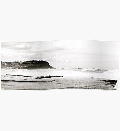 White Surf At Bar Beach Poster