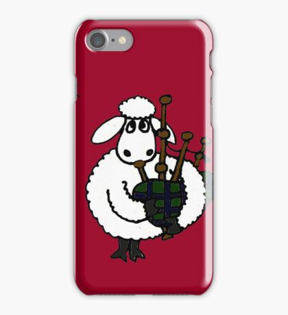 Funky Sheep Playing the Bagpipes iPhone Case/Skin