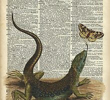Lizard catching a moth,Vintage Illustration of Reptile. by DictionaryArt