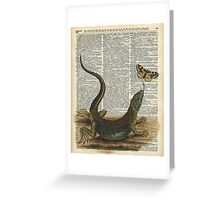 Lizard catching a moth,Vintage Illustration of Reptile. Greeting Card