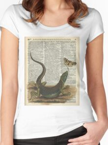 Lizard catching a moth,Vintage Illustration of Reptile. Women's Fitted Scoop T-Shirt