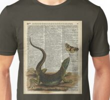 Lizard catching a moth,Vintage Illustration of Reptile. Unisex T-Shirt