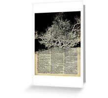 White And Bloack Lonley Tree Dictionary Art Greeting Card