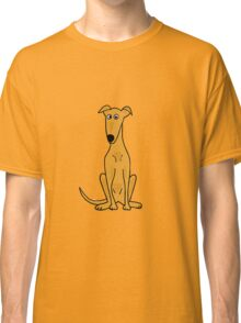 Cute Sitting Fawn Greyhound Racing Dog Classic T-Shirt