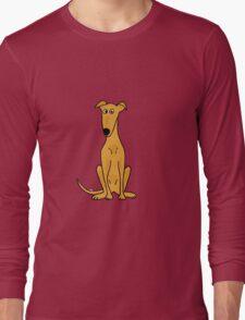 Cute Sitting Fawn Greyhound Racing Dog Long Sleeve T-Shirt
