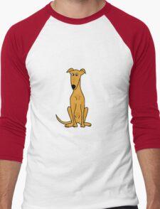 Cute Sitting Fawn Greyhound Racing Dog Men's Baseball ¾ T-Shirt
