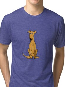 Cute Sitting Fawn Greyhound Racing Dog Tri-blend T-Shirt