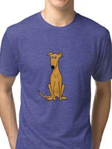 Cute Sitting Fawn Greyhound Racing Dog Tri-blend T-Shirt