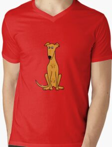 Cute Sitting Fawn Greyhound Racing Dog Mens V-Neck T-Shirt
