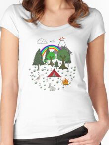 Camping Diorama Stickers Women's Fitted Scoop T-Shirt