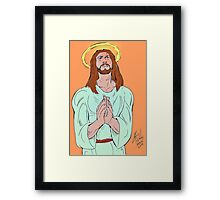 Jesus praying with God about cancer. Framed Print