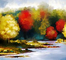 Autumn Landscape - Abstract Art by Renee Dawson