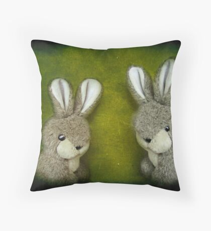 Two Bunnies Throw Pillow
