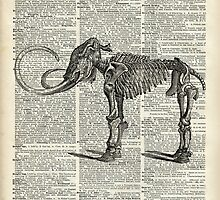 Mammoth Elephant Bones.Skeleton over a Antique Dictionary Book page by DictionaryArt