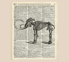 Mammoth Elephant Bones.Skeleton over a Antique Dictionary Book page Unisex T-Shirt