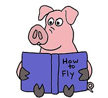 Funny Pink Pig is Reading Book How to Fly by naturesfancy