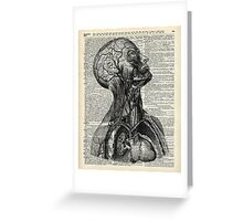 Medical Human Anatomy Illustration Over Old Book Page Greeting Card