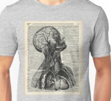 Medical Human Anatomy Illustration Over Old Book Page Unisex T-Shirt