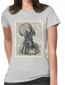 Medical Human Anatomy Illustration Over Old Book Page Womens Fitted T-Shirt