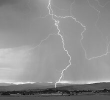Rocky Mountain Front Range Foothills Lightning Strikes 1 BW by Bo Insogna