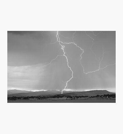 Rocky Mountain Front Range Foothills Lightning Strikes 1 BW Photographic Print