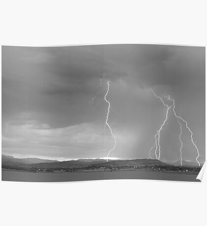Colorado Rocky Mountains Foothills Lightning Strikes 2 BW Poster