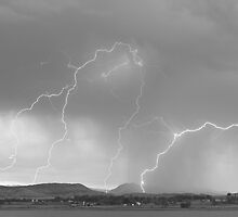 Rocky Mountain Front Range Foothills Lightning Strikes BW by Bo Insogna
