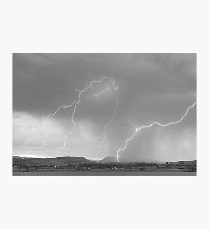 Rocky Mountain Front Range Foothills Lightning Strikes BW Photographic Print