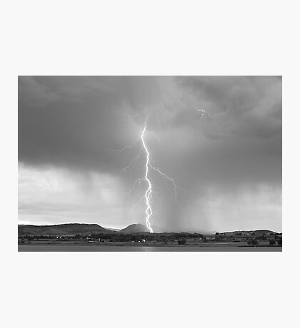 Lightning Twine Striking the CO Rocky Mountain Foothills BW Photographic Print