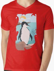 Penguin Vacation Mens V-Neck T-Shirt