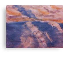 San Diego surfing waves, watercolor Canvas Print