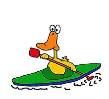 Funny Yellow Duck is Kayaking Photographic Print