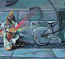 Busker in Berlin by cnillustration