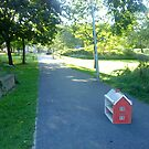 dolls house left at park entrance by H J Field