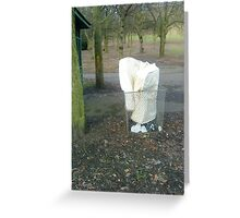 mattress dumped in a bin in the park Greeting Card