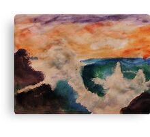 Crashing waves, watercolor Canvas Print