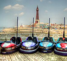 Dodgems in the Shadow of Blackpool Tower by Victoria limerick