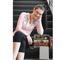 A Bookish Chuckle Photographic Print