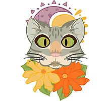 The Cat in Flowers  Photographic Print