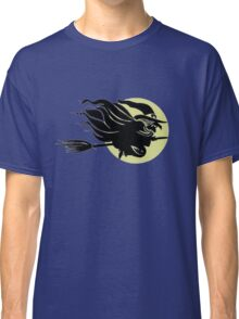 Flying Witch On Broomstick With A Big Moon Classic T-Shirt