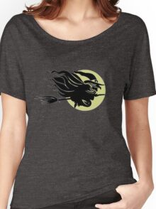 Flying Witch On Broomstick With A Big Moon Women's Relaxed Fit T-Shirt