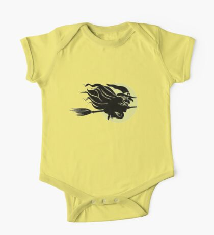 Flying Witch On Broomstick With A Big Moon One Piece - Short Sleeve