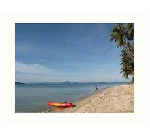 Beach, boat, girl Art Print