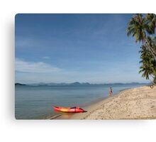 Beach, boat, girl Canvas Print