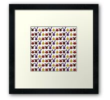 Bear, bunny, chick and fox pattern -white- Framed Print